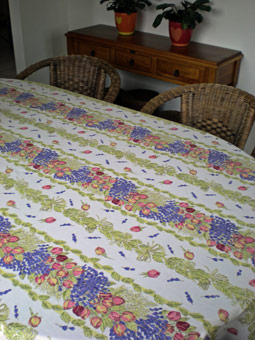 rose and lavender design coated provencal tablecloth