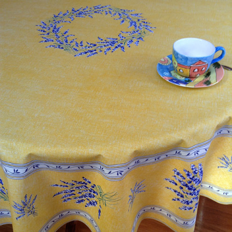Merveilleux Lavender Design French Round Tablecloth 70in Or 90in Diameter. Pauline  Yellow