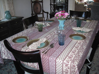 french tablecloth and serviettes