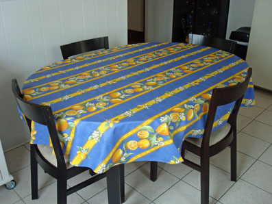 blue and yellow provencal coated tablecloth