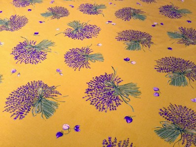 yellow provencal fabric with lavender design