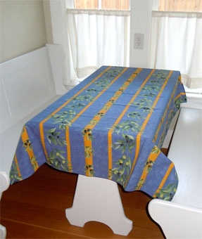 blue and yellow provencal tablecloth