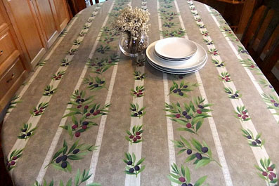 treated linen tablecloth