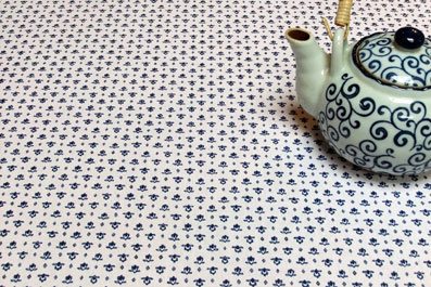 blue and white provencal coated tablecloth