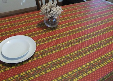 Plastic coated tablecloth