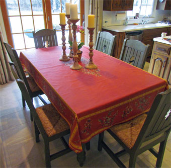 red provence tablecloth with olives design