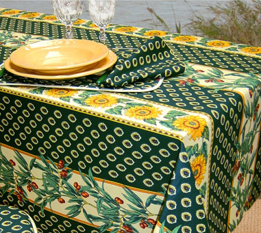 provencal fabric with olives and sunflowers