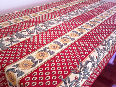 French Provencal Tablecloth With Olives And Sunflowers Designs