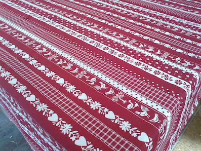 reversible cloth red with chickens