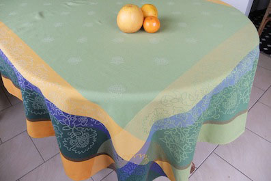French Jacquard tablecloth green