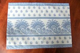 blue and white cotton placemat