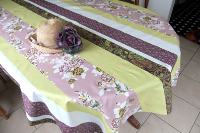 green coated tablecloth