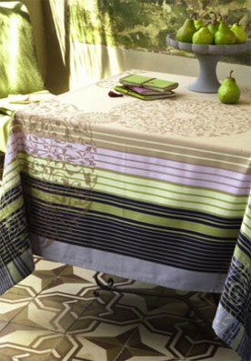 Acrylic coated french Jacquard tablecloth , wipe over tablecloth