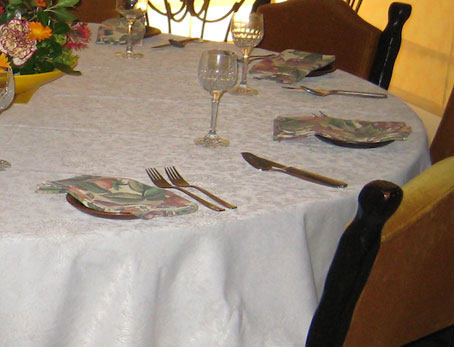 very large white jacquard formal tablecloth