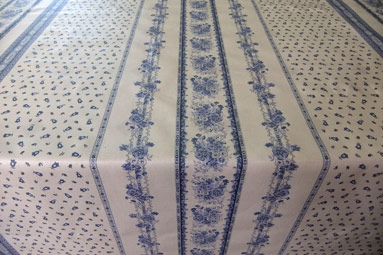 blue and white traditional provencal tablecloth