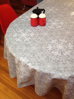 sparking grey christmas tablecloth