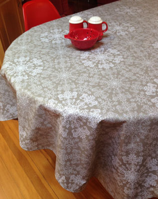 christmas oilcloth with sparkles