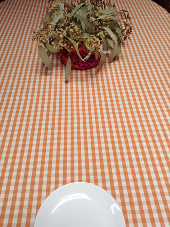 orange and white check french cotton fabric for tablecloths