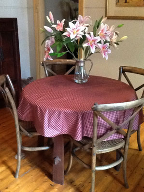 red linen check coated tablecloth