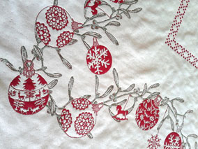 Christmas tablecloth with baubles