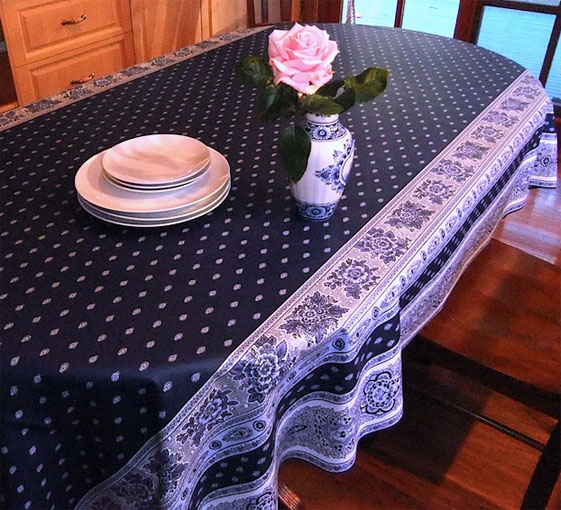 Blue And White French Provincial Oilcloth, French Provencal Coated  Tablecloth ...