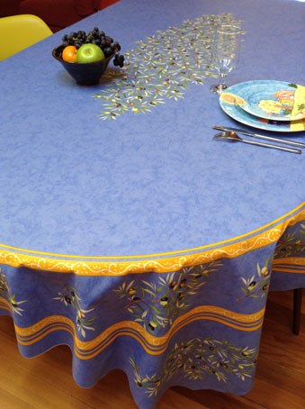 Exceptionnel ... 8 Seater Oval Tablecloth With Olive Design And Teflon Coatinge