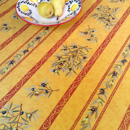 Yellow And Green Olive Design Coated Tablecloth