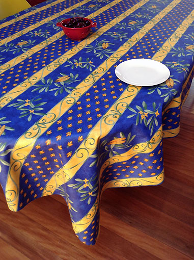 Charmant Cicada And Olives Design French Vinyl Wipe Over Tablecloth Blue And Yellow  ...