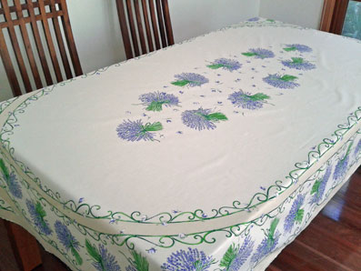 Plastic Coated Basque Tablecloth, Provencal Tablecloth With Lavender Design