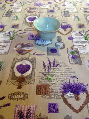 Lavender Hearts Linen Acrylic Coated Tablecloth (available In All Sizes)
