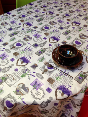 Lavender Hearts White Acrylic Coated Tablecloth (available In All Sizes)