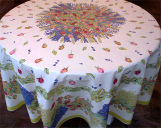 Rose And Lavender Design Round Tablecloth
