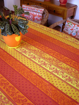 Attractive French Provencal Plastic Treated Tablecloth ...