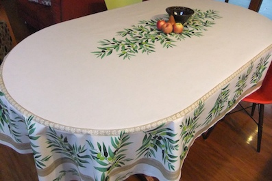 Bon Noemie Beige Acrylic Coated 8 Seater Tablecloth. Contact U0026 Order