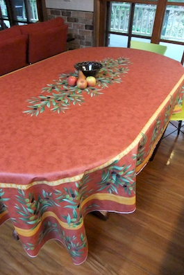 Large Oval Coated Tablecloth. Noemie Red 8 Seater Coated Table Cloth