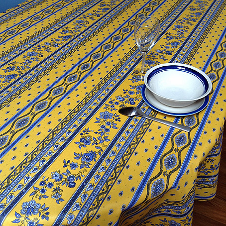 Yellow And Blue Traditional Provencal Tablecloth With Acryilic Coating